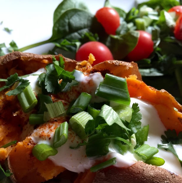 Baked sweet spud with spicy yogurt